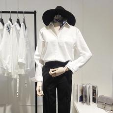 白色衬衫女长袖韩范2017秋装新款韩版纯色休闲百搭棉质宽松白衬衣