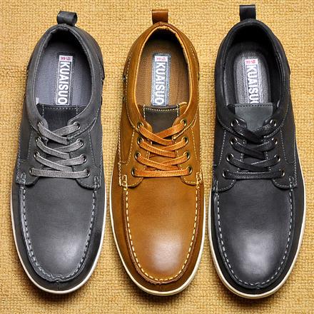 快索新款冬季板鞋男士休闲鞋真皮鞋子潮鞋磨砂大码男鞋英伦黑色