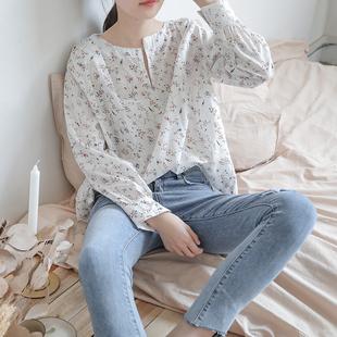 韩国春夏新款法式V领复古少女碎花亚麻衬衫宽松衬衣清新长袖女装