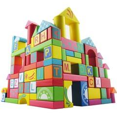 100粒字母数字袋装积木 儿童益智力启蒙教育木制质玩具