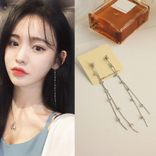 Korean version of the long mini-water drill Su long earrings earrings earrings earrings earrings without ear holes clip S925 silver needle woman
