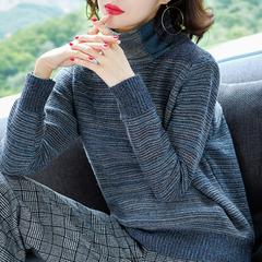 堆堆领毛衣女套头短款秋冬条纹高领针织羊绒衫宽松胖mm加肥加大码