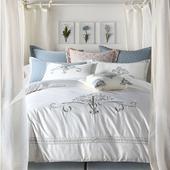 美式全棉贡缎刺绣床上四件套 冬季纯棉复古绣花床品多套件