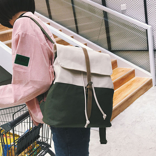 帆布双肩包女包日韩版潮学院风高中学生书包女旅行背包校园小清新