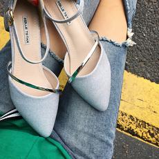包头凉鞋女夏2017新款中空尖头粗跟低跟一字扣3-5厘米中跟高跟鞋