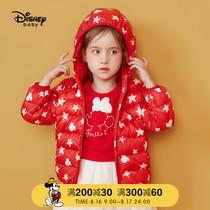 迪士尼童装儿童羽绒服男女轻薄款2019冬新米妮白鸭绒短款洋气外套