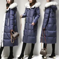 2017新款女装冬装宽松大码长款羽绒服女蓝色毛领过膝显瘦外套加厚
