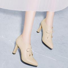 高跟鞋女细跟米色春秋女鞋子韩版百搭深口春季单鞋女2019新款春款