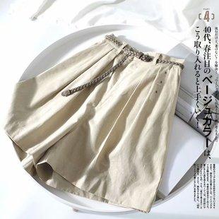 舒适透气棉麻阔腿裤 女夏季薄款高腰A字显瘦高腰休闲短裤 配腰带
