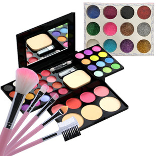 正品化妆粉盒彩妆盘39色全套装组合儿童舞台妆演出腮红珠光眼影盘