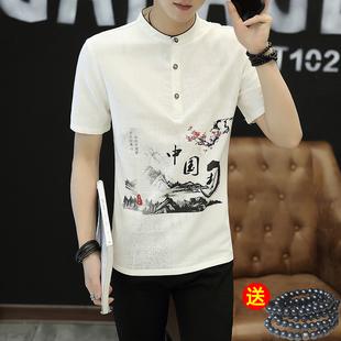 中国风唐装中式男装棉麻衬衫亚麻短袖夏季青年民族休闲汉服装上衣
