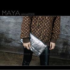 玛雅包馆欧美欧洲站真皮牛皮时尚折叠手拿包信封包女包单肩小包包