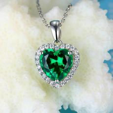 925纯银爱心祖母绿吊坠镶嵌克拉彩色宝石绿碧玺心形项链镀18K金新
