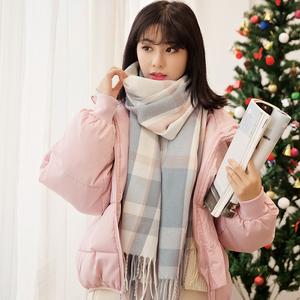 围巾女冬季长款披肩两用韩版学生格子少女围脖百搭日系小清新潮流女士围巾