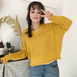 春秋女装韩版学院风宽松长袖套头针织衫V领外穿短款毛衣学生上衣毛衣