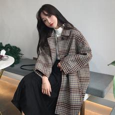 秋冬女装韩版复古格子中长款宽松加厚呢子大衣小个子学生风衣外套