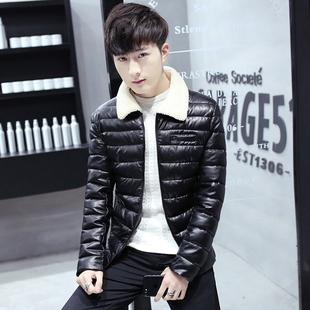 加厚皮衣男士秋冬季棉服男装青年韩版修身羊羔毛领PU皮棉衣外套47