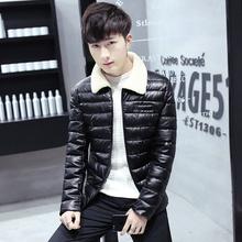 羊羔毛领PU皮棉衣外套47 秋冬季棉服男装 修身 加厚皮衣男士 青年韩版