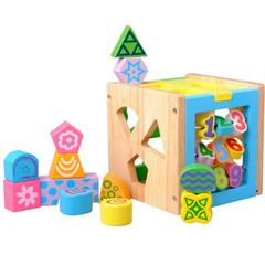宝宝儿童益智玩具1-3岁 十三孔智力盒 数字几何 形状配对积木玩具