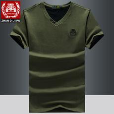 战地吉圃夏天短袖T恤男装V领宽松体恤男士大码休闲半袖汗衫上衣