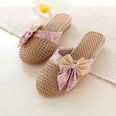 韩版包头凉拖鞋女士室内防滑春夏季居家时尚可爱女式家居亚麻凉拖