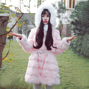 诺里 蒂凡 甜美可爱时尚修身冬季狐狸毛领兔毛皮草外套女中长款