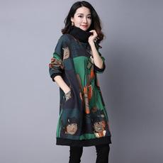 2017秋冬新款民族风女装大码高领中长款印花T恤长袖套头卫衣外套