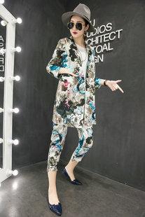 欧洲站2018春季新款时尚花色棉麻长西服女士上衣修身复古百搭外套