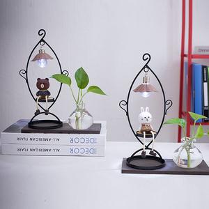 水培花瓶玻璃透明布朗熊可妮兔装饰品卧室女生日礼物创意<span class=H>家居</span>摆件