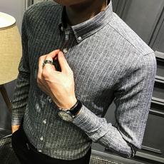 秋季条纹长袖衬衫男韩版修身时尚青年衬衣男长袖休闲寸衫潮流男装