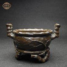 铜韵堂 纯铜香炉摆件 竹节熏香炉盘香 佛堂供奉 家居家用香道用品