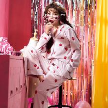新款 甜美宽松可外穿草莓居家服套装 睡衣女士春秋季纯棉长袖 韩版