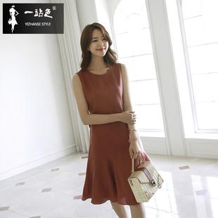 韩版新款夏季棉麻连衣裙女中长款显瘦文艺鱼尾裙休闲无袖亚麻裙子