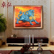 卓弘 手绘油画貔貅风水画挂画客厅壁画玄关餐厅家居装 饰画
