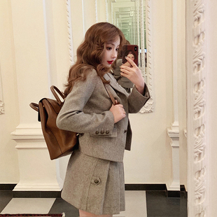 张旅菲2019春秋款棉麻质感韩版复古学院风高腰超短百褶裙半身裙