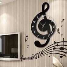 石英装 音乐音符北欧客厅家用时尚 创意钟表个性 饰时钟静音艺术挂钟