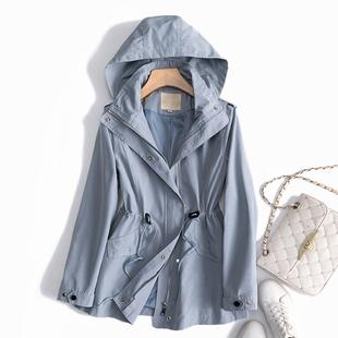 飞日本高阶品质 抽绳收腰连帽 薄款风衣女短款矮个子休闲外套春季