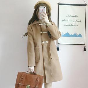 冬装女装日系软妹中长款百搭毛呢外套宽松显瘦牛角扣纯色大衣风衣毛呢大衣