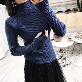 韩版半高领套指袖洞加厚针织打底毛衣女