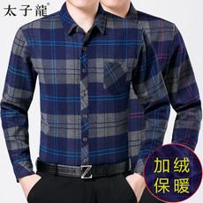 太子龙保暖衬衫男冬季中年宽松加绒加厚纯棉口袋衬衣老年人爸爸装