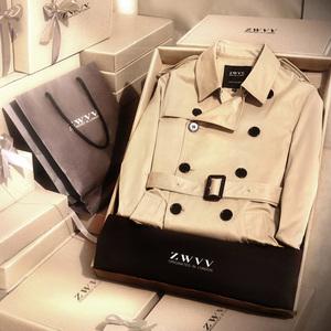 ZWVV春秋潮流男士风衣2017新款韩版中长款修身帅气青年短款外套风衣