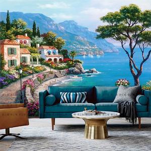 欧式地中海风景壁纸壁画图片
