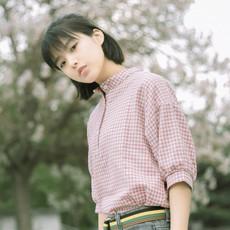 夏季新款森系宽松文艺格子学生衬衫女日系棉麻五分袖立领休闲衬衣