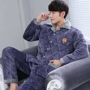 冬季夹棉睡衣男士三层加厚加大码珊瑚绒法兰绒睡衣套装家居服棉袄居家服