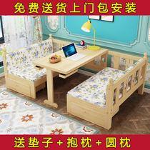 守旧撤⒋部烧鄣小户型多功能1.5米坐卧两用客厅书房带书桌1.2米