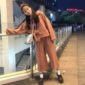 女秋冬高腰九分裤 原宿宽松纯色长袖 休闲连帽套头卫衣套装 两件套潮