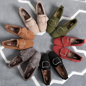 2016新款豆豆鞋女加绒冬季韩版毛毛鞋女秋冬平底大码英伦风单女鞋护士鞋