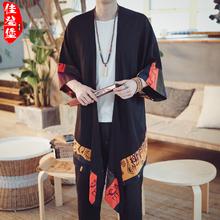 外套 碎花男士 民族风民国古装 披风衣长衫 防晒服中国风男装 汉服大码