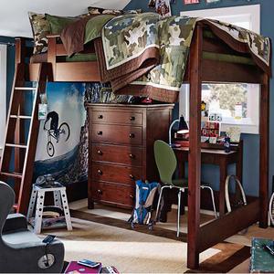 定制<span class=H>美式</span>实木儿童床<span class=H>家具</span>高低床高架床双层床多功能上下铺床带书桌