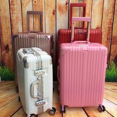 玫瑰金拉杆箱旅行箱24铝合金框万向轮复古20寸登机箱男女26托运箱